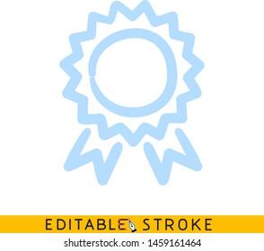 Star ribbon award. Blue color doodle sketch. Editable line icon. Stock vector illustration.