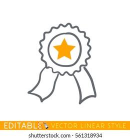 Star ribbon award. Editable line icon. Stock vector illustration.