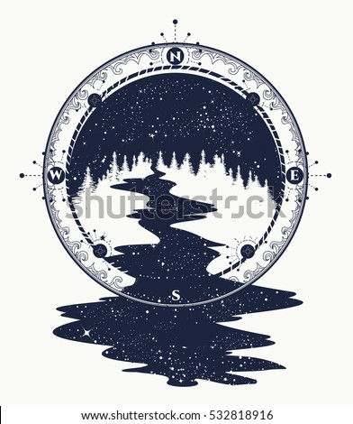 Star River Flows Compass Tattoo Art Stock Vector Royalty Free