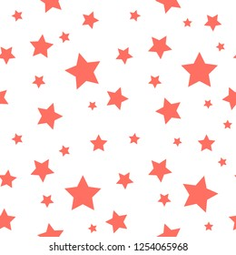 Star seamless pattern of the color of the year 2019 - Living Coral. Chaotic elements. For web, print, wallpaper, wrapping, fashion fabric, textile design, background for invitation card, holiday decor