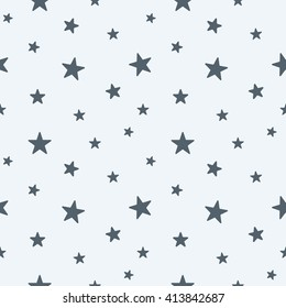 Good Star Seamless Pattern. Cute Gray Stars. Baby Shower Background. Babies  Fashion. Vector