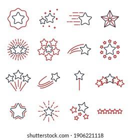 star set icons. Shining star. Abstract Falling Star symbol vector illustration