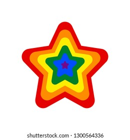 Star shape LGBT rainbow pride flag symbol. The sign created for popularizing and support the LGBT community in social media. The design graphic element is saved as a vector illustration EPS file