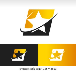 Star shape logo icon with swoosh graphic element