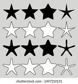 star shape set isolated on grey background. vector illustration