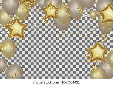 star shaped balloons. birthday greeting Golden Shop Now background with silver, rose gold and gold star shaped balloons