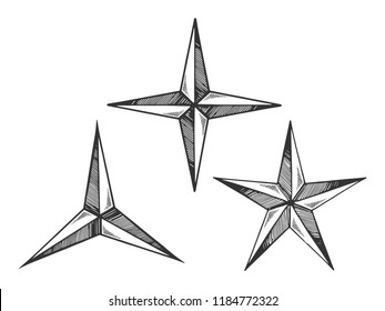 Star shapes engraving vector illustration. Scratch board style imitation. Black and white hand drawn image.