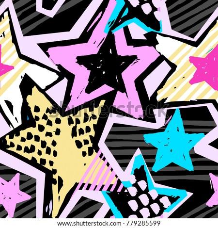 Star Shapes Graffiti Seamless Hand Craft Stock Vector Royalty Free