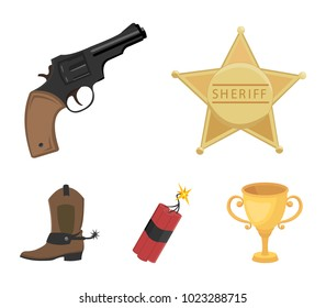 Star sheriff, Colt, dynamite, cowboy boot. Wild West set collection icons in cartoon style vector symbol stock illustration web.