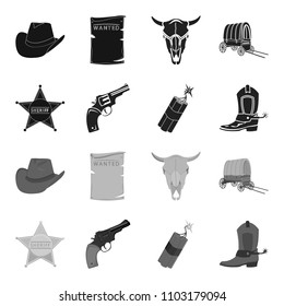 Star sheriff, Colt, dynamite, cowboy boot. Wild West set collection icons in black,monochrome style vector symbol stock illustration web.