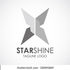 Star shine of metallic abstract vector and logo design or template silver steel business icon of company identity symbol concept