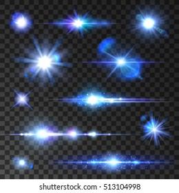 Star shine set. Shining stars, glittering beams, blue neon light rays with lens flare effect. Vector isolated icons on transparent background for new year, christmas decoration symbols