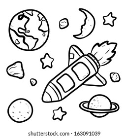 star ship and universe / cartoon vector and illustration, hand drawn, sketch style, isolated on white background.