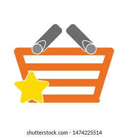 star shopping basket icon. flat illustration of star shopping basket vector icon. star shopping basket sign symbol