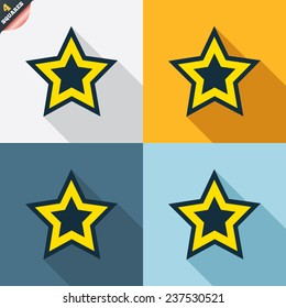 Star sign icon. Favorite button. Navigation symbol. Four squares. Colored Flat design buttons. Vector