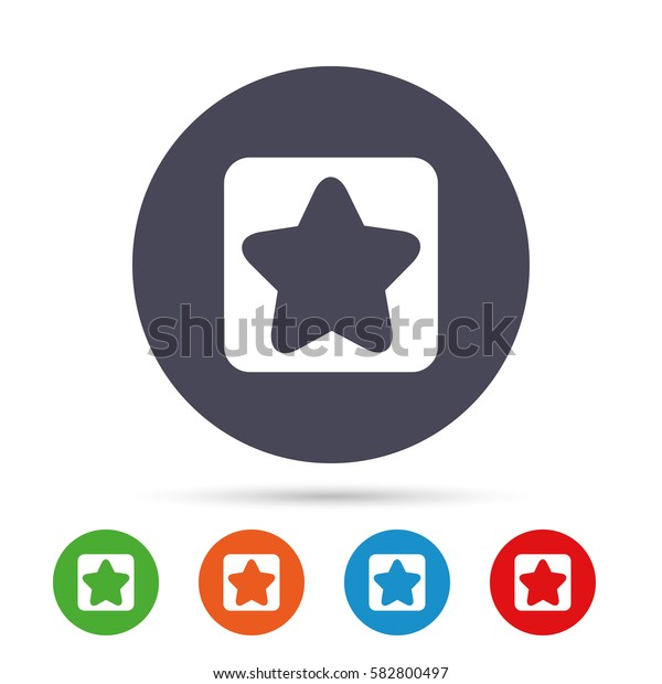 Star sign icon. Favorite button. Navigation symbol. Round colourful buttons with flat icons. Vector