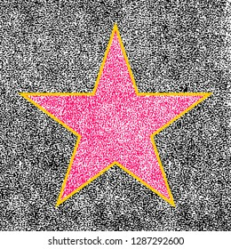 Star sign imitating a five-pointed terrazzo and brass star symbol on Hollywood Walk of Fame. This design graphic element is saved as a vector illustration