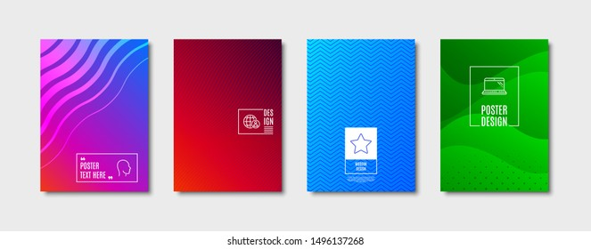 Star sign. Poster design, cover template. Laptop, International recruitment and Head line icons set. Computer, World business, Human profile. Best rank. Science set. Abstract background. Vector