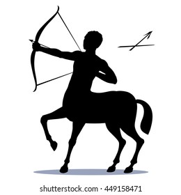 Star sign Sagittarius - the centaur, pulls a bow to shoot an arrow at a target. The symbol of the Zodiac horoscope constellation icon visible in the sky in December. Isolated, vector drawing.