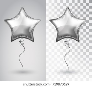 Star silver balloon on transparent background. Party balloons event design decoration. Balloons isolated air. Mockup for balloon print. Stocking Christmas decorations. Vector isolated object.