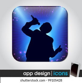 star singer at the concert app icon for mobile devices