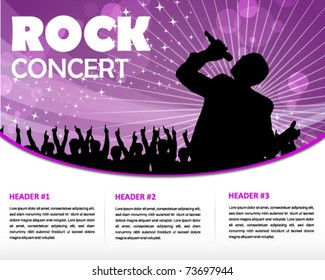 star singer and the crowd of fans - print and web template