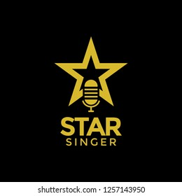 Star singer logo design template vector illustration
