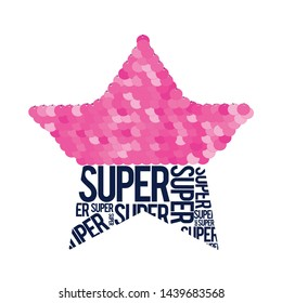 Star and slogan illustration for girl print design vector.