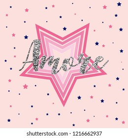 star slogan pink girl tee illustration art vector