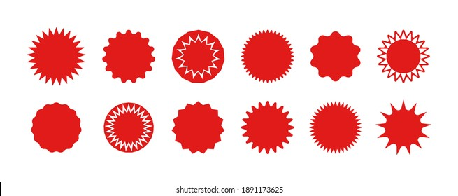 Star stickers. Badges of burst. Red circles for sale and promo. Starburst icons for tags and prices. Design shapes for banner and discount with explosion edge. Set of abstract buttons. Vector.