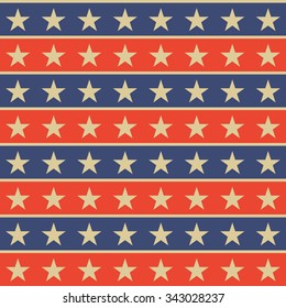 Star and stripe. Seamless pop-art pattern.