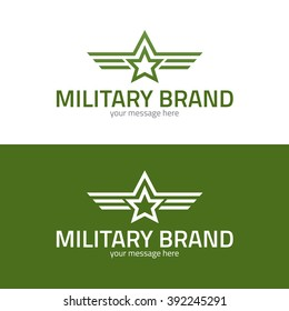 Star with stripes military icon. Logo template. Vector illustration.