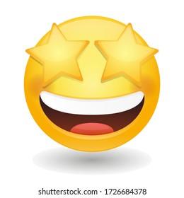 Star Struck Eyes Emoji Vector art illustration design. Emoticon expression graphic round. Avatar kawaii style.