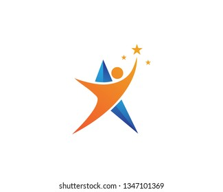Star success people care logo and symbols template
