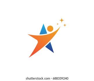 Star success people logo and symbols