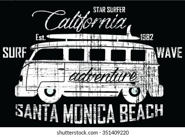 Star Surfer - Surf Bus  vector print and varsity. For t-shirt or other uses in vector.