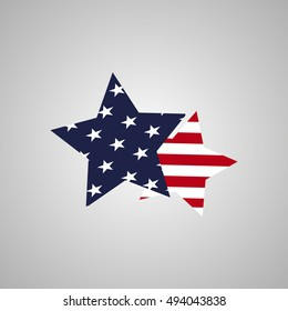 star symbol designed in the style of the flag of the United States