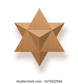 Star tetrahedron, Merkaba, Mer-Ka-Ba, stellated octahedron, stella octangula, 3D extension of the Star of David. Wooden textured isolated vector illustration on white background.