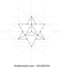 Star tetrahedron, a vector illustration of star tetrahedron with lines on white background