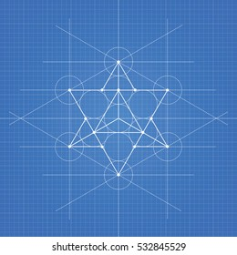 Star tetrahedron, a vector illustration of star tetrahedron on blueprint technical paper background
