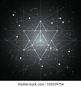 Star tetrahedron, a vector illustration of star tetrahedron on a black space background with stars