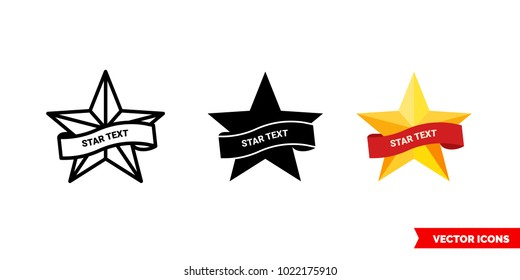 Star text symbol icon of 3 types: color, black and white, outline. Isolated vector sign symbol.