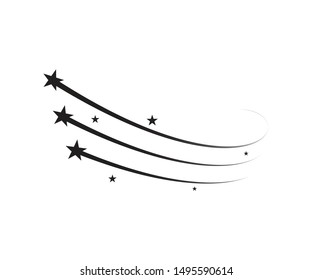 Star trail comet trace of black lines vector illustration on background