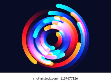 Star trails vector background illustration made up of colored gradient lines