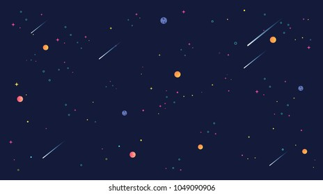 star universe background illustration. Flat design for kid.
