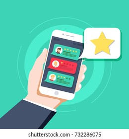 Star - user rating, bookmark and evaluation icon in the bubble over mobile phone. Social media concept of user opinion, review, feedback. Flat line vector illustration, UX UI element for web design