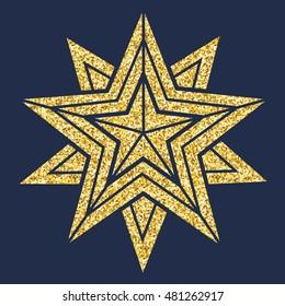 Star, vector geometric illustration. Christmas star for design, card, invitation, print.