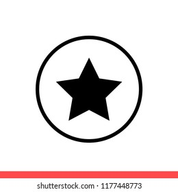 Star vector icon, rank symbol. Simple, flat design for web or mobile app