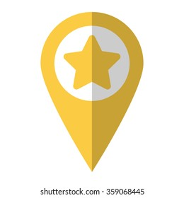 Star - vector icon;  yellow map pointer