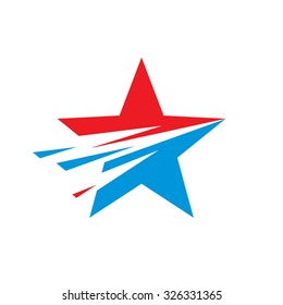 Star - vector logo template concept illustration. USA sign. Design element. Explosion. Flight motion.